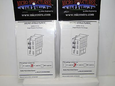 N Scale *2* SINGLE WINDOW FIRE ESCAPE PHOTO-ETCHED BRASS KITS MicroStructure MIB