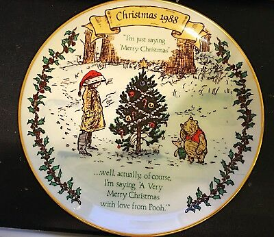 Winnie The Pooh Christmas 1988 Rare Limited Collectors Plate