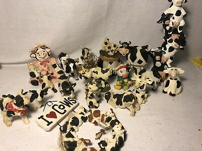 Huge Cow Collectors Figurine Lot- Ceramic, Plastic, Rubber, Stone All Different