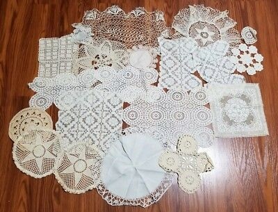 Lot of 20 vintage White Crochet/Knitted Doilies, Place Mats Off White etc.......