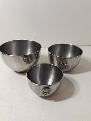 Vintage Revere Ware  Stainless Steel Mixing Bowl Set~3 Pcs No Lids