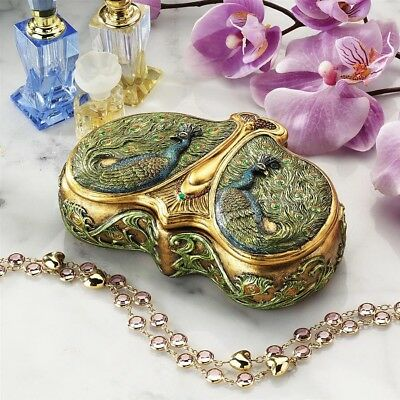 Treasure Valuables mile Gall Exotic Art Nouveau Double Peacock Jewelry Box