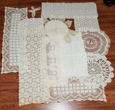 Lot of 12 vintage White Crochet/Knitted Doilies, Place Mats, Table Runners, etc.