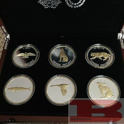 2017 Canada Big Coin Series 6x 5 oz Gold-Plated Silver Coins & Collector Case