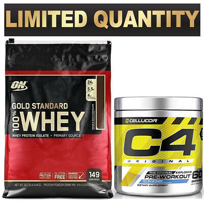 Optimum Nutrition 100% On Whey 10Lb Cellucor C4 Original Id Series 60 Serves