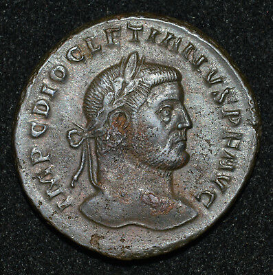 Ancient Roman, Diocletian AE Follis RIC VI Lyons 2a Good VF 295 AD Bronze coin