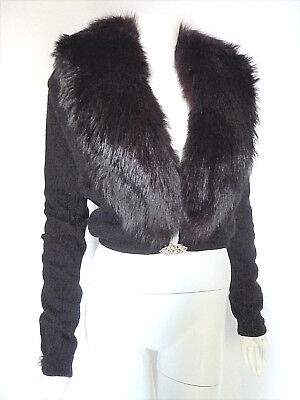 FOX FUR Angora VTG 50s 60s Pin-up SWEATER Detachable Collar JEWELS Lace Lined
