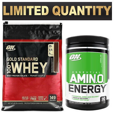 Optimum Nutrition 100% On Whey 10Lb On Amino Energy 30 Srv Bcaa Muscle Recovery
