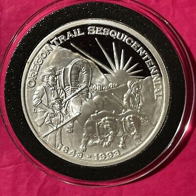 1993 Oregon Trail Pioneers Wagon 1 Troy Oz .999 Fine Silver Round Proof Coin 999