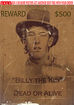 Old West Wanted Poster Outlaw Billy The Kid Bank Western Garrett Ringo Doc Ok