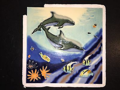 "BENAYA Hand Crafted Tile 8""x8"" Dolphins - Beautiful"