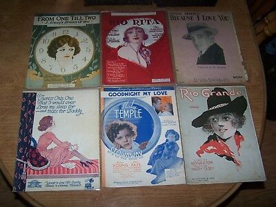 Antique Sheet Music, 6 Pieces by Mixed Artists, Original Prints, Clean Items