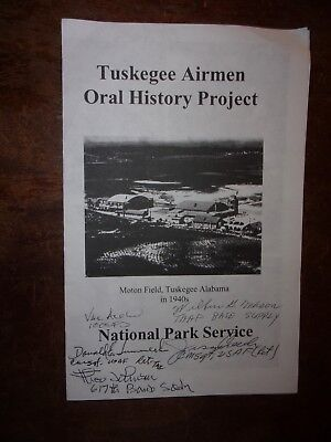 Autographed WWII TUSKEGEE AIRMEN Brochure RED TAILS A-Train, Wilbur Mason,