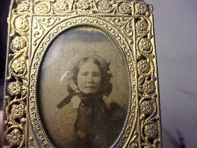Antique Victorian Ambrotype Photograph Lady-Bonnet Gold Filigee Picture Frame