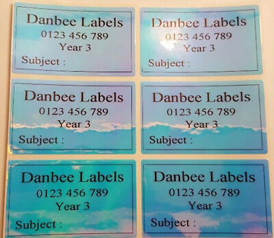 36xExtra Large Colorful Dazzle Rainbow Personalised Name Labels, 50mm x 30mm