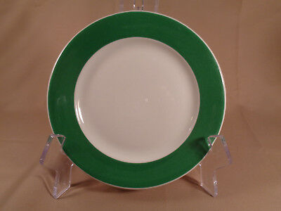 """Vtg green rim PLATE, 8 1/4"""" Piccadilly Cafeteria,  Albert Pick Co. McNicol China"""