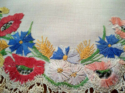 Stunning Meadow Flower Display ~ Vintage Hand Embroidered Large Centrepiece