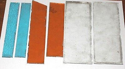 6 Pieces Of Rippled-Wavy Glass For Leaded Window Repair.  Blue, Amber & Clear
