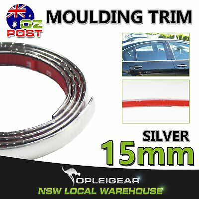 5M Silver Car Grille Door Trunk Chrome Styling Decorate Moulding Trim Strip 15mm