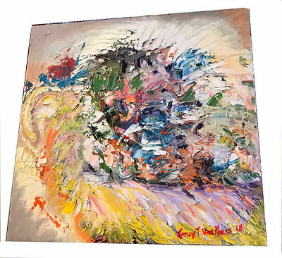 """Abstract 10""""x10"""" Original Oil Painting on Canvas Signed Art by Artist Colorful"""