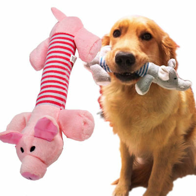Fun Pet Puppy Dog Chew Sound Squeaker Squeaky Puppy Toys Plush Pig Elephant Duck