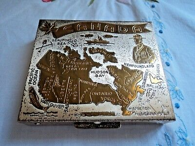 Vintage powder compact - Map of Canada - 7 x 6 cms oblong