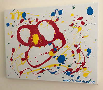 """Abstract Flower 16""""x20"""" Original Oil Painting Signed Art by Artist Nancy The"""