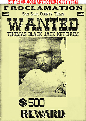 Old West Wanted Poster Ringo Black Jack Outlaw Ok Doc Kid Western Bank Robbery