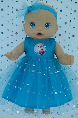 """Play n Wear Doll Clothes To Fit 13"""" Baby Alive  TURQUOISE SEQUIN DRESS~HEADBAND"""