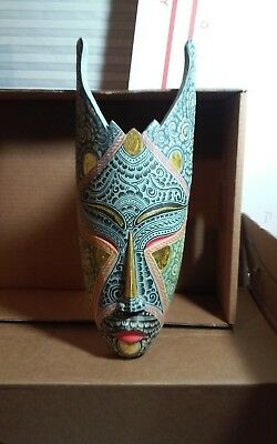 Interesting carved,painted wooden Asian? Mask wall sculpture bout 16.75 x 6.5