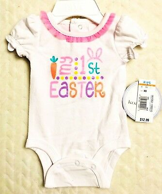 Baby Girls My First Easter White Pink Ruffle Glitter One Piece Bodysuit