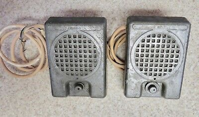 Vintage Pair of REED Drive-In Movie Speakers Cast Aluminum Tested Working