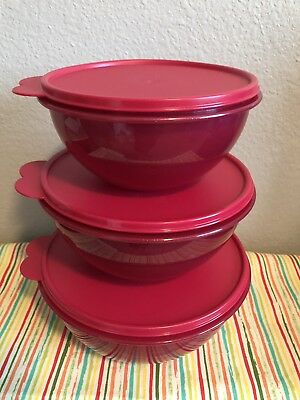Tupperware 3 Piece Wonderlier Bowl Set of 3 Red w/ Glitter 12, 8, 6 Cups New