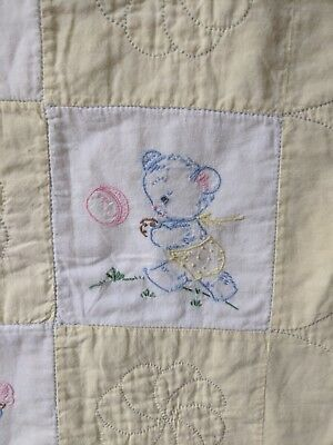 Vintage 1940's Handmade EMBROIDERED BABY Quilt -Beautiful Baby Bear - MUST SEE!