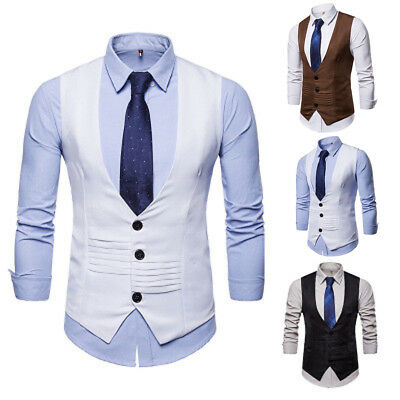 Men's Formal Business Tops Vest Wedding Suit Sleeveless  Waistcoat Coat