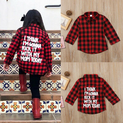 Kids Baby Boys Girls Casual Plaid Long Sleeve Tops T-shirt Clothes 2-7Years New