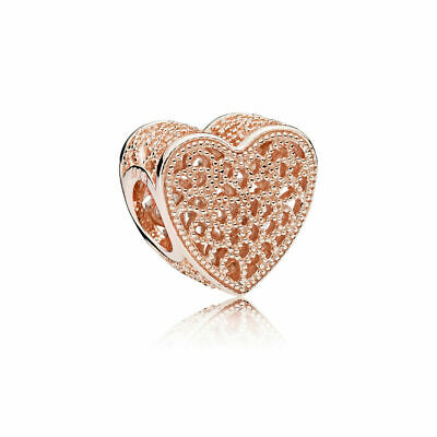 New Authentic Pandora Sterling Silver Heart Rose Gold Bead Pendant Charm 781811