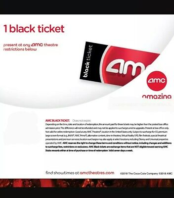 1 AMC Black Tickets, 1 Large Drink  and 1 Large Popcorn