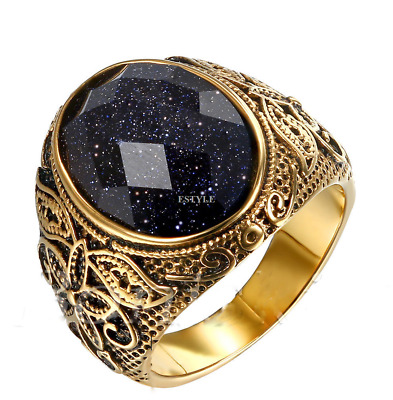 Men's Vintage Gold Stainless Steel Patterned Purple Sand Stone Band Ring 7-12