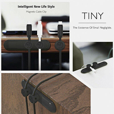 Magnetic USB Cable Clip Organizer Clamp Wire Cord Management Winder Line Holder