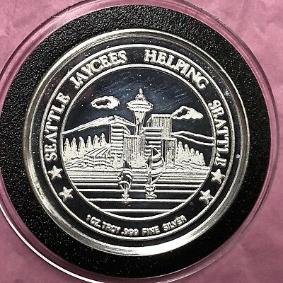 1983 Seattle Jaycee Bingo 1 Troy Oz .999 Fine Silver Round Proof Coin Medal 999