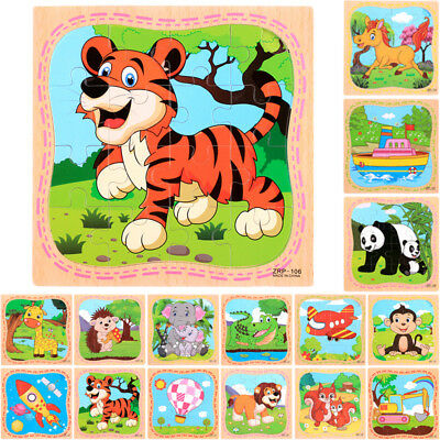 16pcs Kids Baby Wooden Learning Geometry Educational Toys Puzzle Animal Style HQ