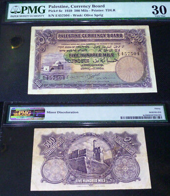 Israel, Palestine Currency Board, 500 Mils, 1939, Pmg 30 Beautiful Banknote
