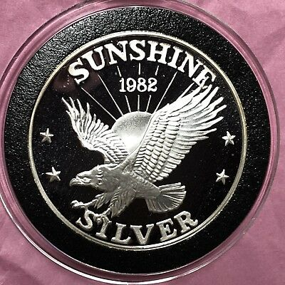 1982 PROOF Sunshine Mining 1 Troy Oz .999 Fine Silver Rare Round Coin Medal 999