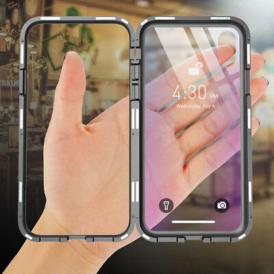 For iPhone XS X 8 7 6 360° Magnetic Adsorption Tempered Glass Hard Bumper Cover