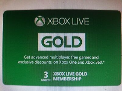 3 MONTHS XBOX LIVE GOLD Membership Digital Download Code XBOX One & 360 -