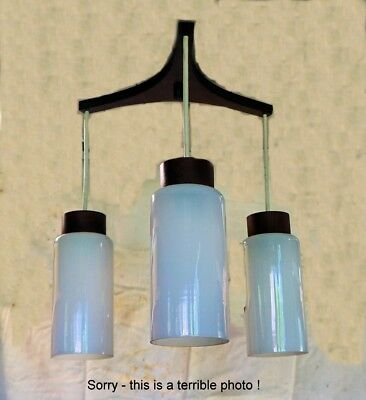 Genuine 1960's 3-lamp pendant, near perfect original condition, glass & timber
