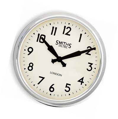 Smiths Retro Wall Clock in Chrome - 38cm