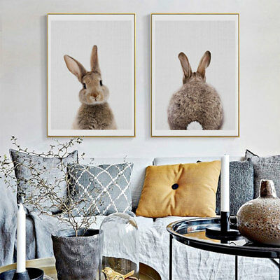 FT- Animal Rabbit Canvas Poster No Frame Painting Art Office Room Wall Picture G