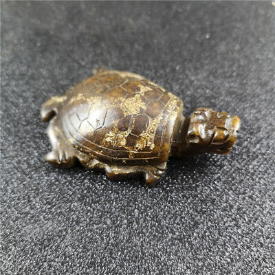 Chinese 3D Carve Dragon Turtle Tortoise Antique Old Jade Figurines & Statues A21